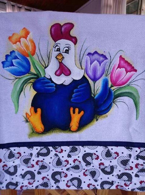 Pintura em tecido: galinha