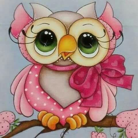 Pintura em tecido: coruja rosa