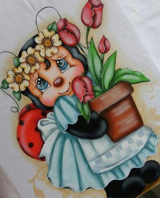 Pintura em tecido: joaninha