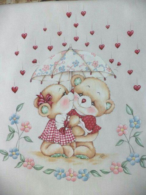 pintura-em-Pintura em tecido: ursinho com ursinha