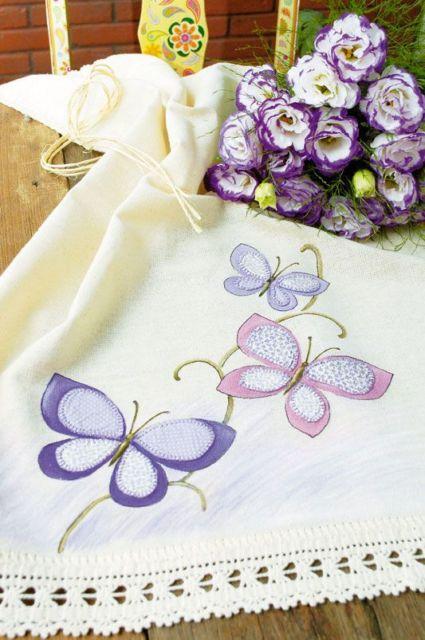 Pintura em tecido: pano de prato com borboletas