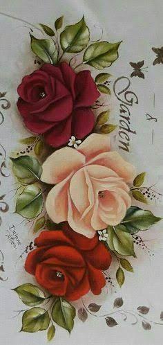 Pintura em tecido: rosa