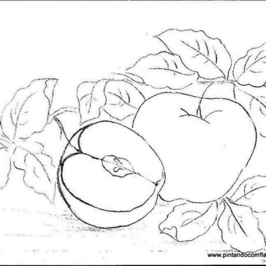 Pintura em tecido risco de maçã para imprimir