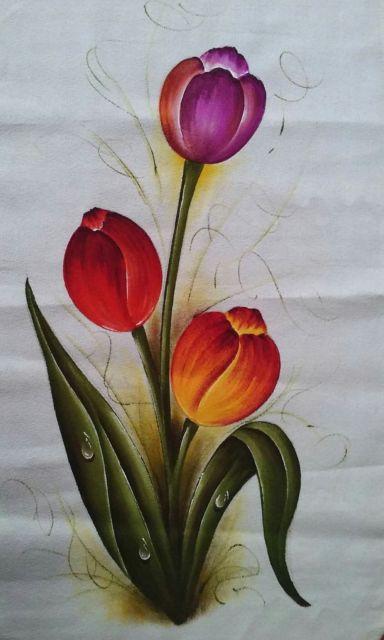 Pintura em tecido: tulipas vermelhas