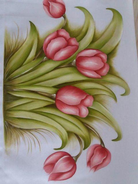 Pintura em tecido: tulipas