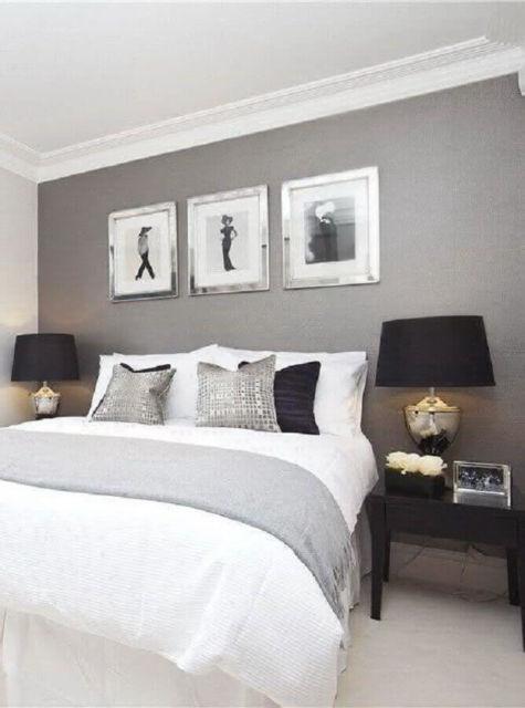 quarto de casal com decoração cinza