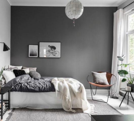 quarto com decoração branca e cinza