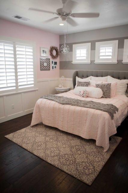 quarto com decoração rosa e cinza