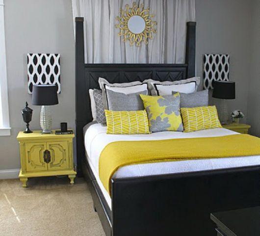 quarto com decoração amarela e cinza