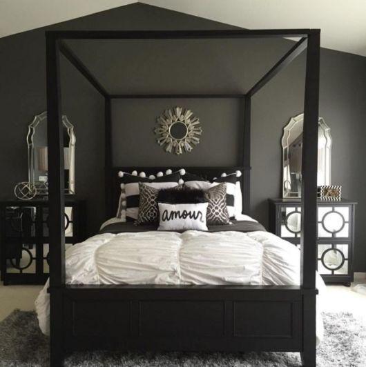quarto com decoração preta e cinza