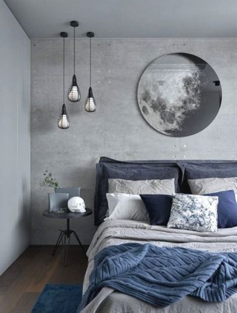 quarto com decoração azul e cinza
