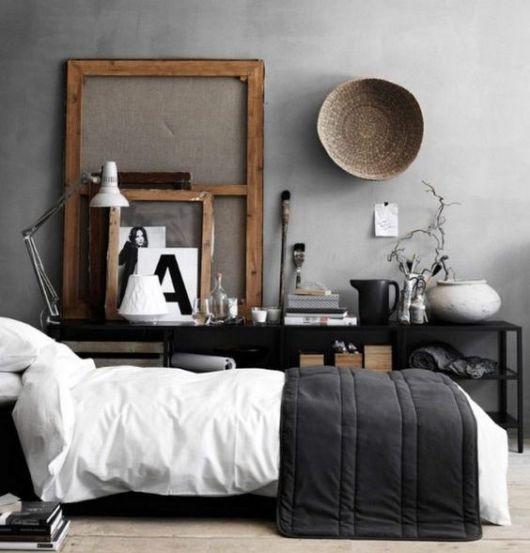 quarto masculino com decoração cinza