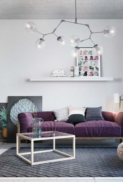 sala com lustre moderno