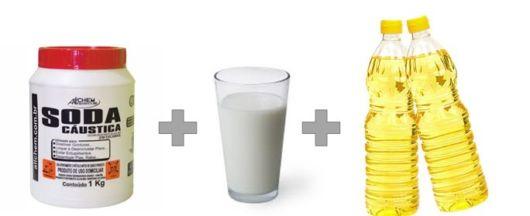 receita sabão com leite
