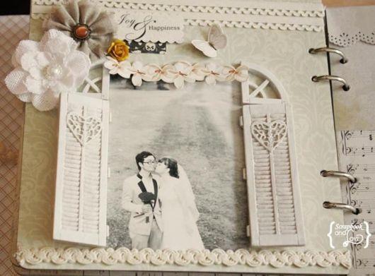 Scrapbook para casamento com foto P&B