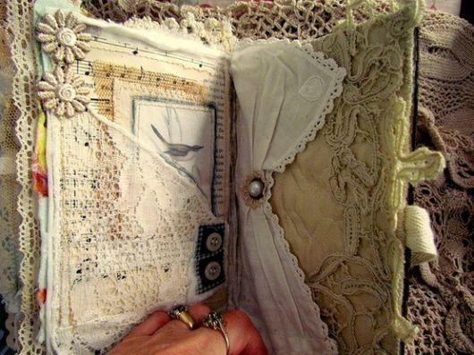 Scrapbook vintage com tecido
