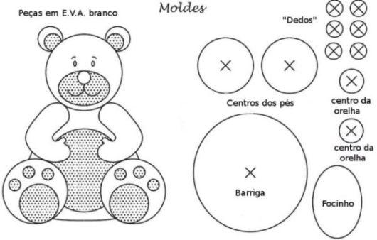 Molde para fazer urso de EVA fácil