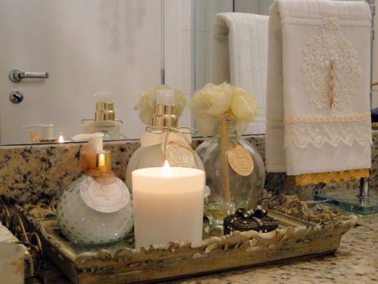 Bandeja decorativa para banheiro