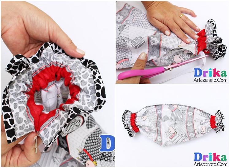 como fazer puxa-saco de tecido