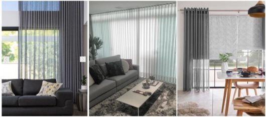 decoração com cortina cinza