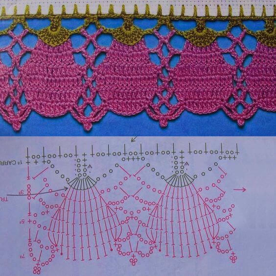bico de crochê com desenhos