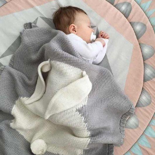 manta de tricô para bebê