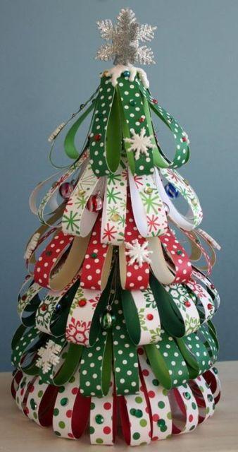 modelos de árvore de natal de papel