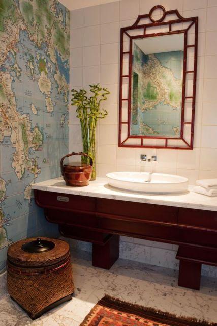 Bambu na decoração do banheiro