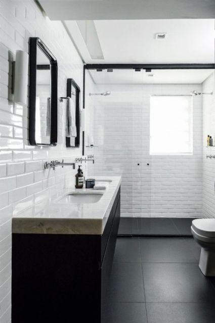 porcelanato preto no banheiro
