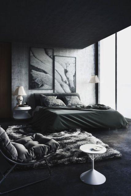 porcelanato preto no quarto