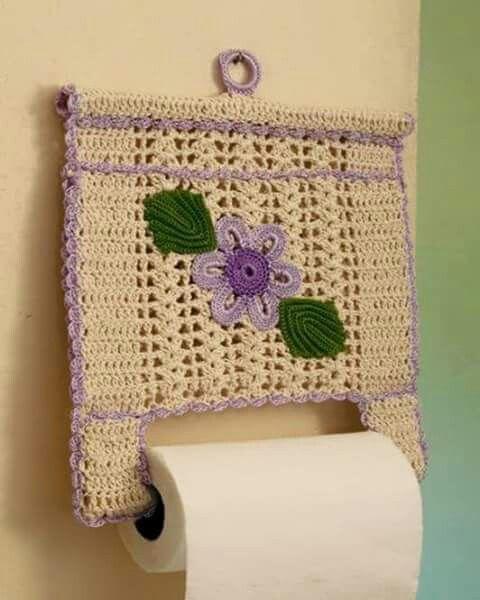 dicas de porta-papel toalha de crochê