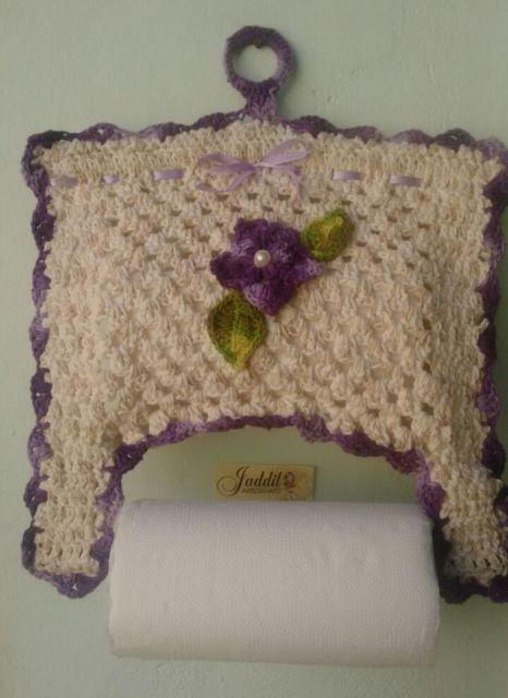 fotos de porta-papel toalha de crochê