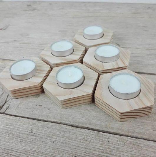 porta-velas moderno de madeira
