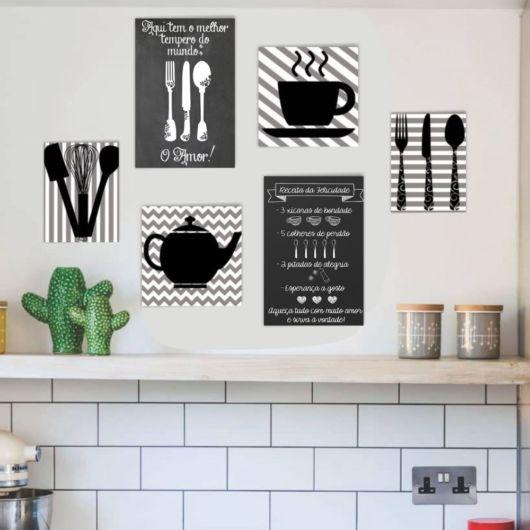 quadro preto e branco para cozinha.