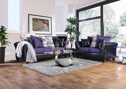 sofá roxo para o canto