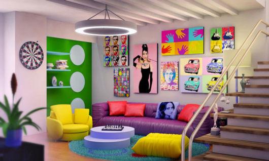sofá roxo cultura pop