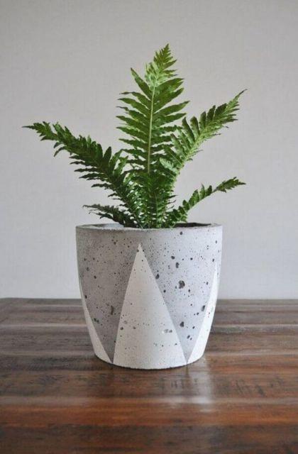vaso concreto pintado de branco