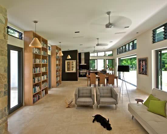 ventilador de teto moderno com cômodos integrados