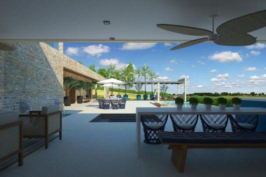 ventilador de teto moderno no terraço