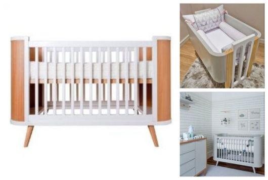 Montagem com exemplos de berços de madeira.