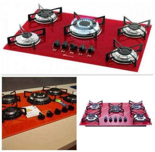 Montagem com três exemplos de cooktops vermelhos.