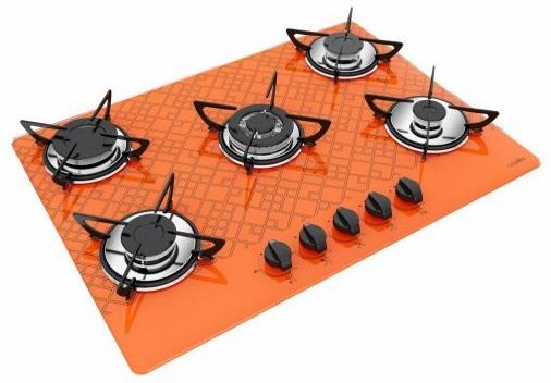 Cooktop laranja estampado.