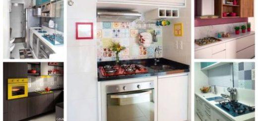 Montagem com cinco exemplos de cozinhas com cooktop colorido.