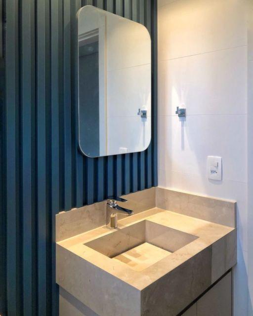 banheiro com cuba esculpida