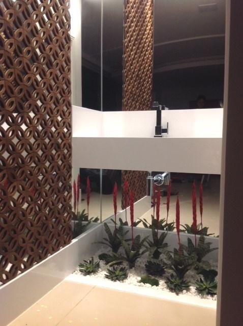 decoração com planta banheiro
