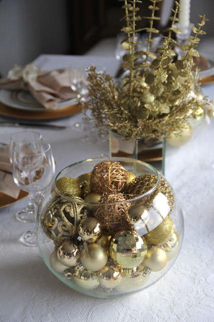 decoração dourada mesa