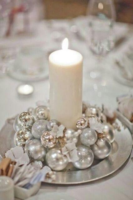decoração prateada natal