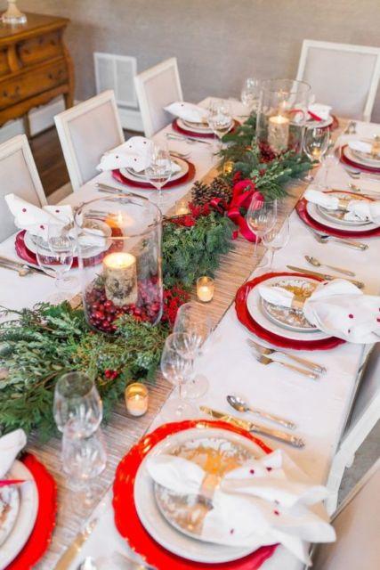 decoração rústica com vermelho