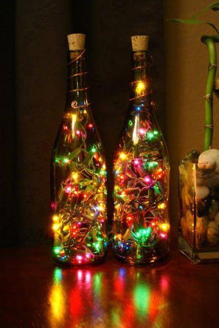 decoração com garrafa de vinho