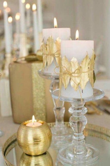 decoração dourada simples